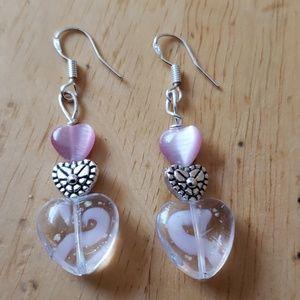 Jewelry - Handmade pink sterling silver heart earrings